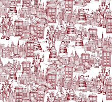 walking doodle toile de jouy red by Sharon Turner