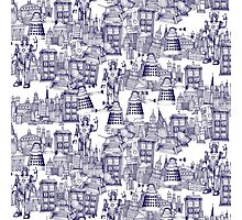 walking doodle toile de jouy blue Photographic Print