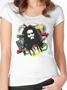 Rasta Music Vector T-Shirt Women's Fitted Scoop T-Shirt