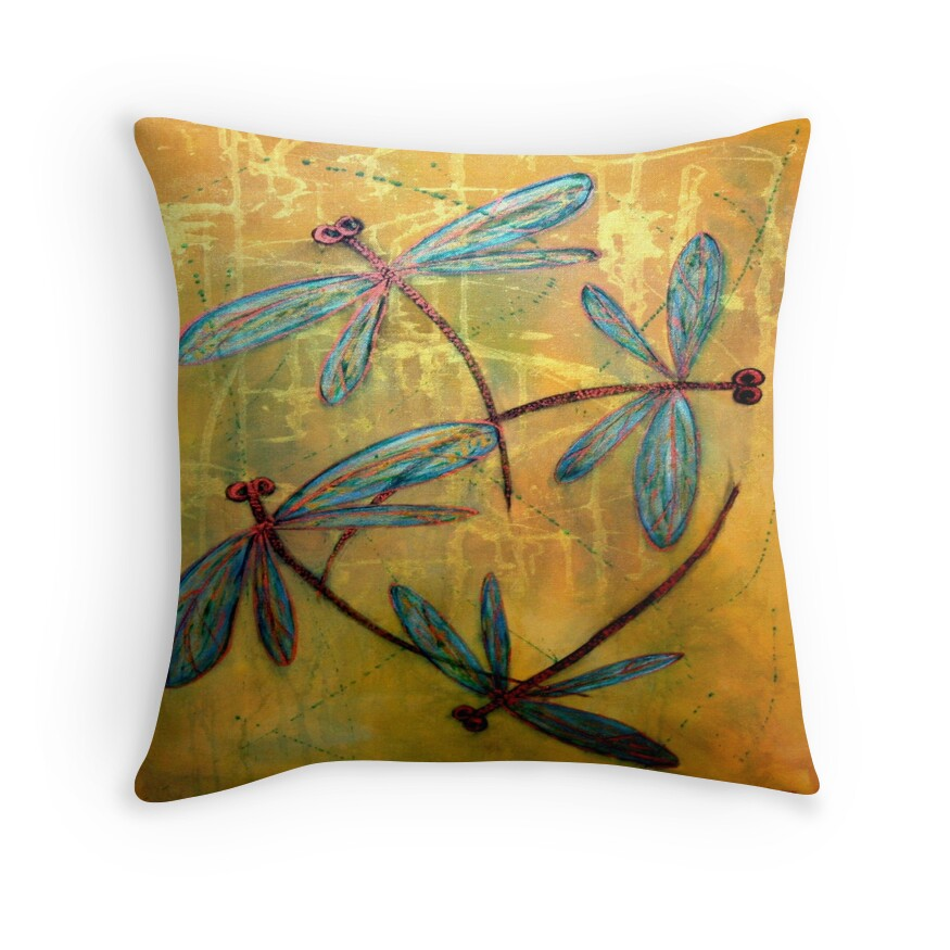 Throw Pillow With Dragonfly :