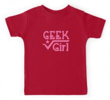 GEEK Girl cute girly pink nerd design Kids Tee
