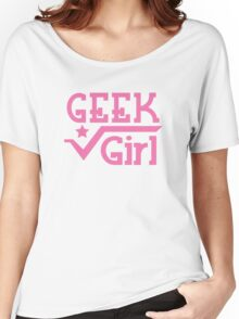 GEEK Girl cute girly pink nerd design Women's Relaxed Fit T-Shirt