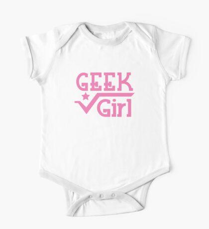 GEEK Girl cute girly pink nerd design One Piece - Short Sleeve