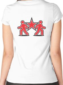 Dancing shuffle man RED STAR Women's Fitted Scoop T-Shirt