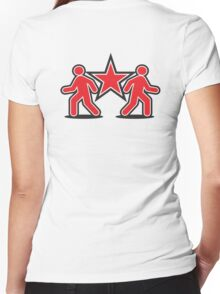 Dancing shuffle man RED STAR Women's Fitted V-Neck T-Shirt