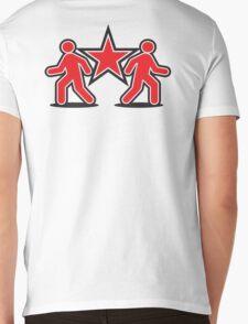 Dancing shuffle man RED STAR Mens V-Neck T-Shirt