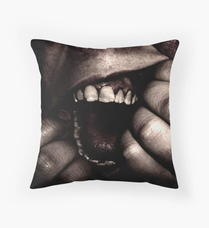 Ripping open mouth Throw Pillow