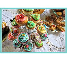 Cup cakes for afternoon tea. Photographic Print
