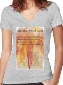 Affirmation for SELF-ESTEEM Women's Fitted V-Neck T-Shirt