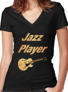 Guitar Jazz Player Women's Fitted V-Neck T-Shirt