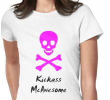 Kickass McAwesome skull Womens Fitted T-Shirt
