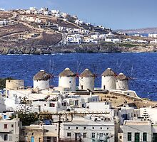 Windmills on Mykonos by Tom Gomez