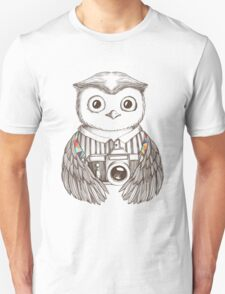 Drawing owl with camera Unisex T-Shirt