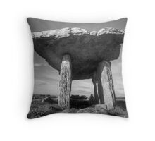 Poulnabrone Dolmen in Black and White Throw Pillow