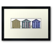 Beach Huts by the Seaside Framed Print