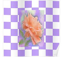 Romantic Watercolor Rose on Lavender and White Check Poster
