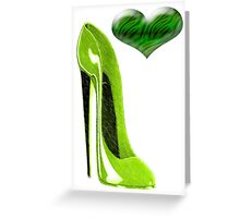 Zesty Lime Green Stiletto Shoe and Heart Greeting Card
