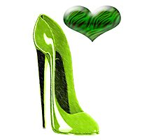Zesty Lime Green Stiletto Shoe and Heart Photographic Print