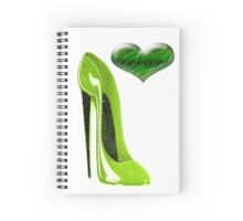 Zesty Lime Green Stiletto Shoe and Heart Spiral Notebook