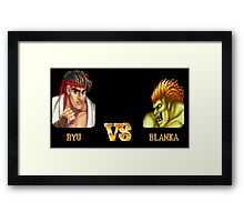 RYU VS BLANKA - FIGHT! Framed Print