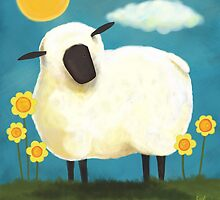 Sheep & Flowers #1 by Lisa Marie Robinson
