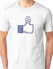 thumbs up, like, facebook, like it, bandage wrapped around an injured finger Unisex T-Shirt