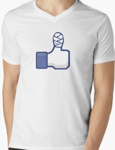 thumbs up, like, facebook, like it, bandage wrapped around an injured finger Mens V-Neck T-Shirt