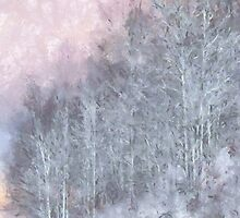 Winter Trees On A Hillside by Jean Gregory  Evans
