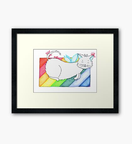 White Rainbow Fairy Cat Framed Print