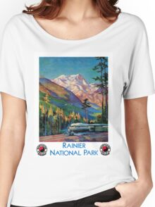 Rainier National Park Vintage Poster Restored Women's Relaxed Fit T-Shirt