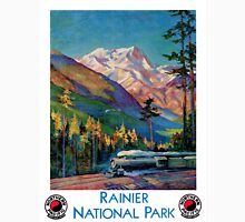 Rainier National Park Vintage Poster Restored Unisex T-Shirt