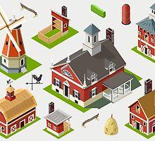 Isometric Great American Barn Set by aurielaki