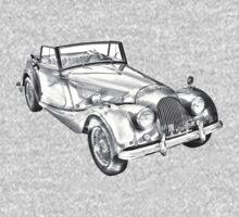 1964 Morgan Plus 4 Convertible Sports Car Illustration One Piece - Long Sleeve