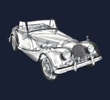 1964 Morgan Plus 4 Convertible Sports Car Illustration One Piece - Short Sleeve