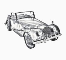 1964 Morgan Plus 4 Convertible Sports Car Illustration Kids Tee