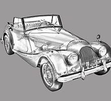 1964 Morgan Plus 4 Convertible Sports Car Illustration by KWJphotoart