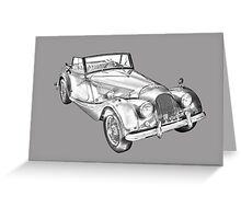 1964 Morgan Plus 4 Convertible Sports Car Illustration Greeting Card