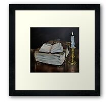 """""""Old Family Bible and Psalm Book"""" - Oil Painting Framed Print"""