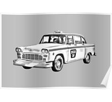 Checkered Taxi Cab Illustrastion Poster