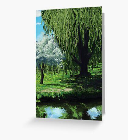 Waterside Willow Greeting Card