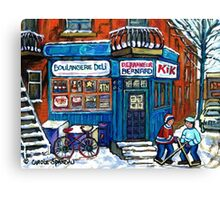 MONTREAL DEPANNEUR WITH BOYS PLAYING HOCKEY SCENE BERNARD AND JEANNE MANCE STREETS Canvas Print