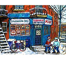 MONTREAL DEPANNEUR WITH BOYS PLAYING HOCKEY SCENE BERNARD AND JEANNE MANCE STREETS Photographic Print