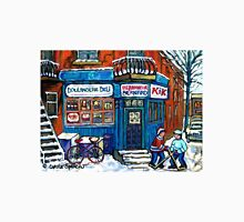 MONTREAL DEPANNEUR WITH BOYS PLAYING HOCKEY SCENE BERNARD AND JEANNE MANCE STREETS Unisex T-Shirt