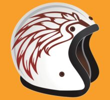 vintage race helmet with fire wings on the side by Alejandro Durán Fuentes