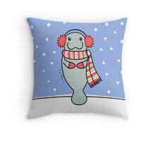 Snow Day Manatee Throw Pillow