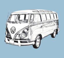 Classic VW 21 window Mini Bus Illustration Baby Tee