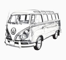 Classic VW 21 window Mini Bus Illustration Baby Tee