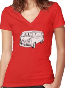 Classic VW 21 window Mini Bus Illustration Women's Fitted V-Neck T-Shirt