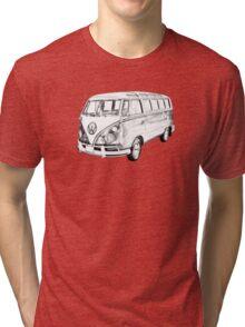 Classic VW 21 window Mini Bus Illustration Tri-blend T-Shirt
