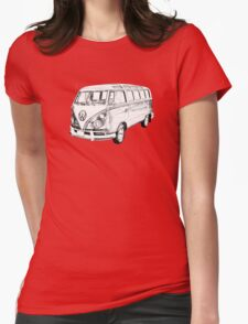 Classic VW 21 window Mini Bus Illustration Womens Fitted T-Shirt